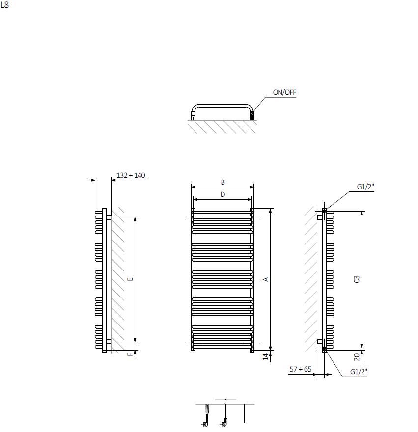<p>A – wysokośćB – szerokośćC1-C5 – rozstaw podłączeńD – rozstaw mocowań w poziomieE – rozstaw mocowań w pionie  F – odległość od dolnej osi mocowań do dolnej krawędzi kolektora</p>
