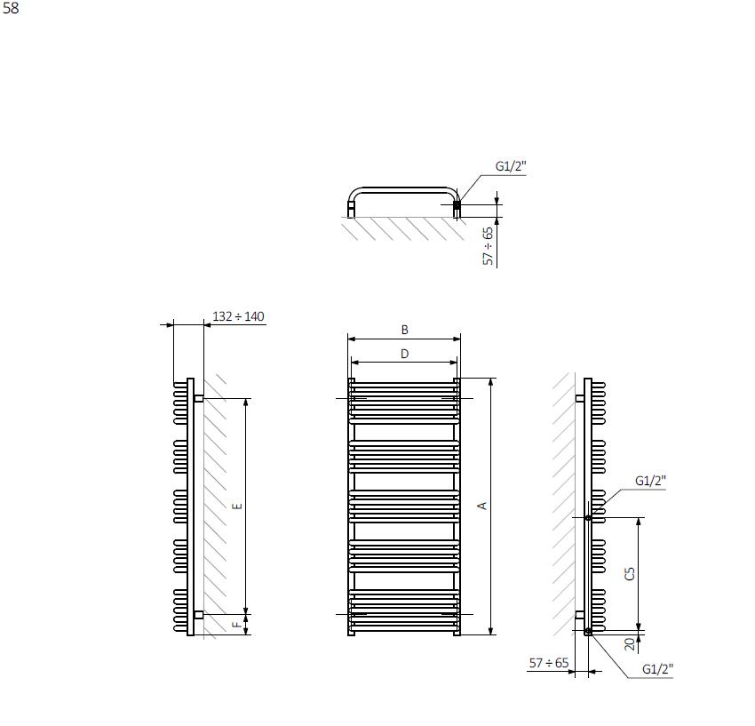 <p>A – wysokośćB – szerokośćC1-C5 – rozstaw podłączeńD – rozstaw mocowań w poziomieE – rozstaw mocowań w pionie<br /> F – odległość od dolnej osi mocowań do dolnej krawędzi kolektora</p>