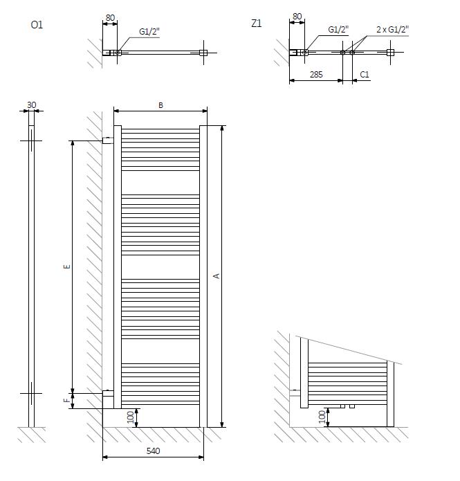 A – wysokość B – szerokość C1-C5 – rozstaw podłączeń  E – rozstaw mocowań w pionie F – odległość od dolnej osi mocowań do dolnej krawędzi kolektora
