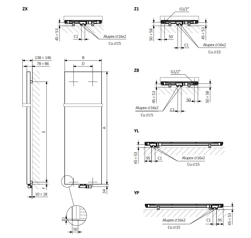<p>A – wysokość, B – szerokość, C1-C5 – rozstaw podłączeń, D – rozstaw mocowań w poziomie, E – rozstaw mocowań w pionie, F – odległość od osi dolnego mocowania do dolnej krawędzi kolektora</p>