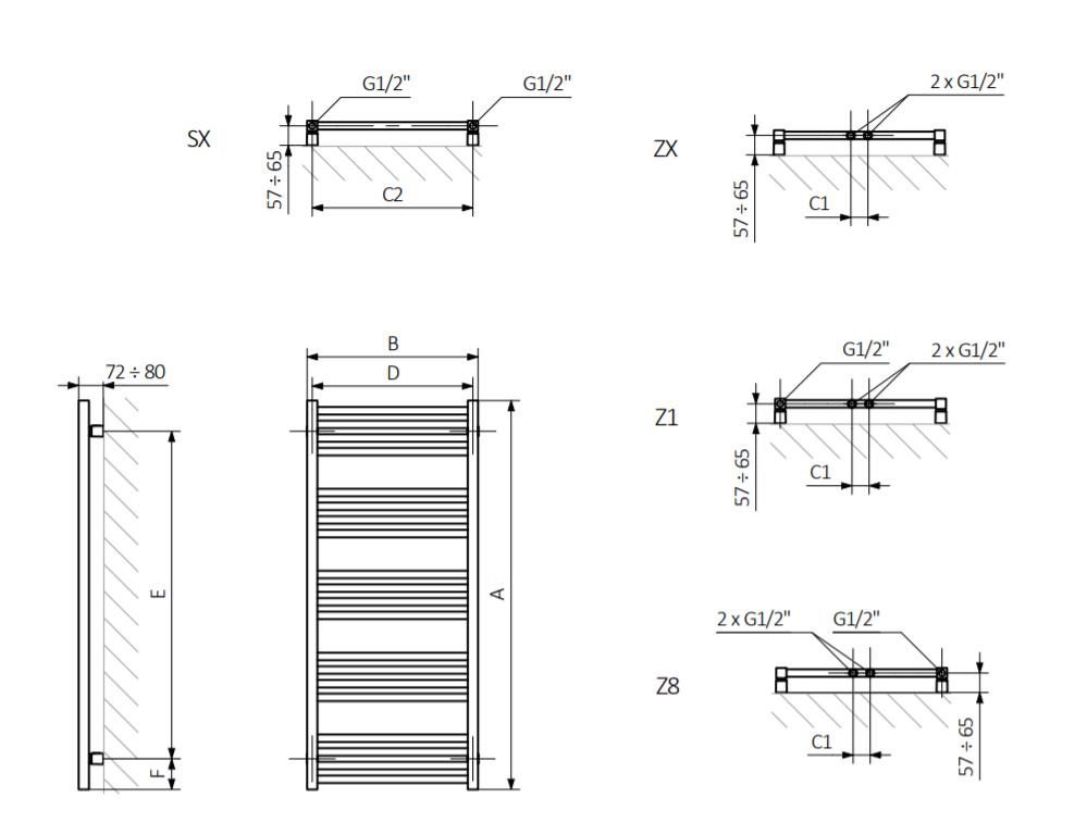 <p><span><span><span>A – wysokość B – szerokość C1-C5 – rozstaw podłączeń D – rozstaw mocowań w poziomie E – rozstaw mocowań w pionie F – odległość od dolnej osi mocowań do dolnej krawędzi kolektora</span></span></span></p>