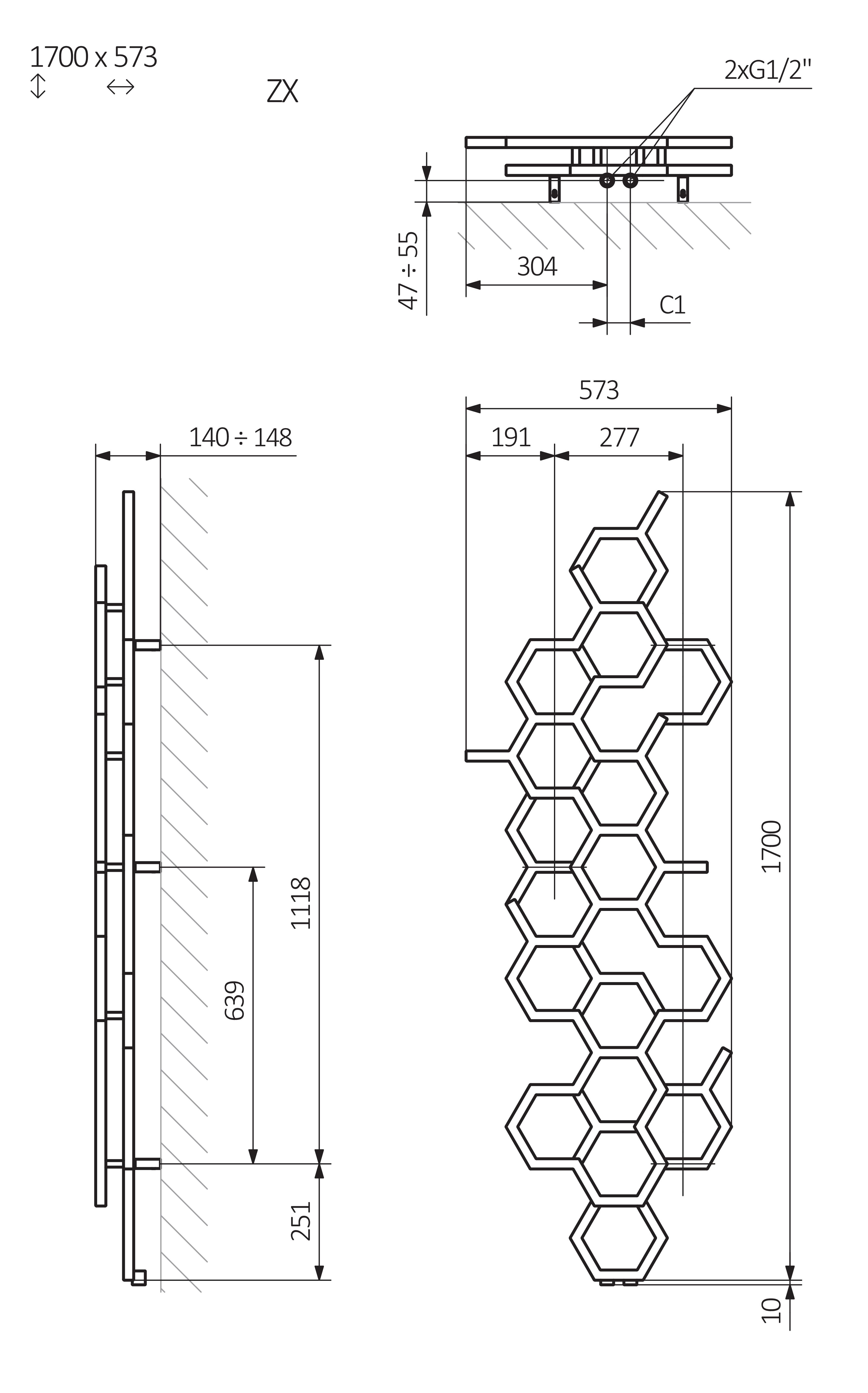 <p>A – wysokość, B – szerokość, C1-C5 – rozstaw podłączeń, D – rozstaw mocowań w poziomie, E – rozstaw mocowań w pionie, F – odległość od osi dolnego mocowania do dolnej krawędzi rurki</p>