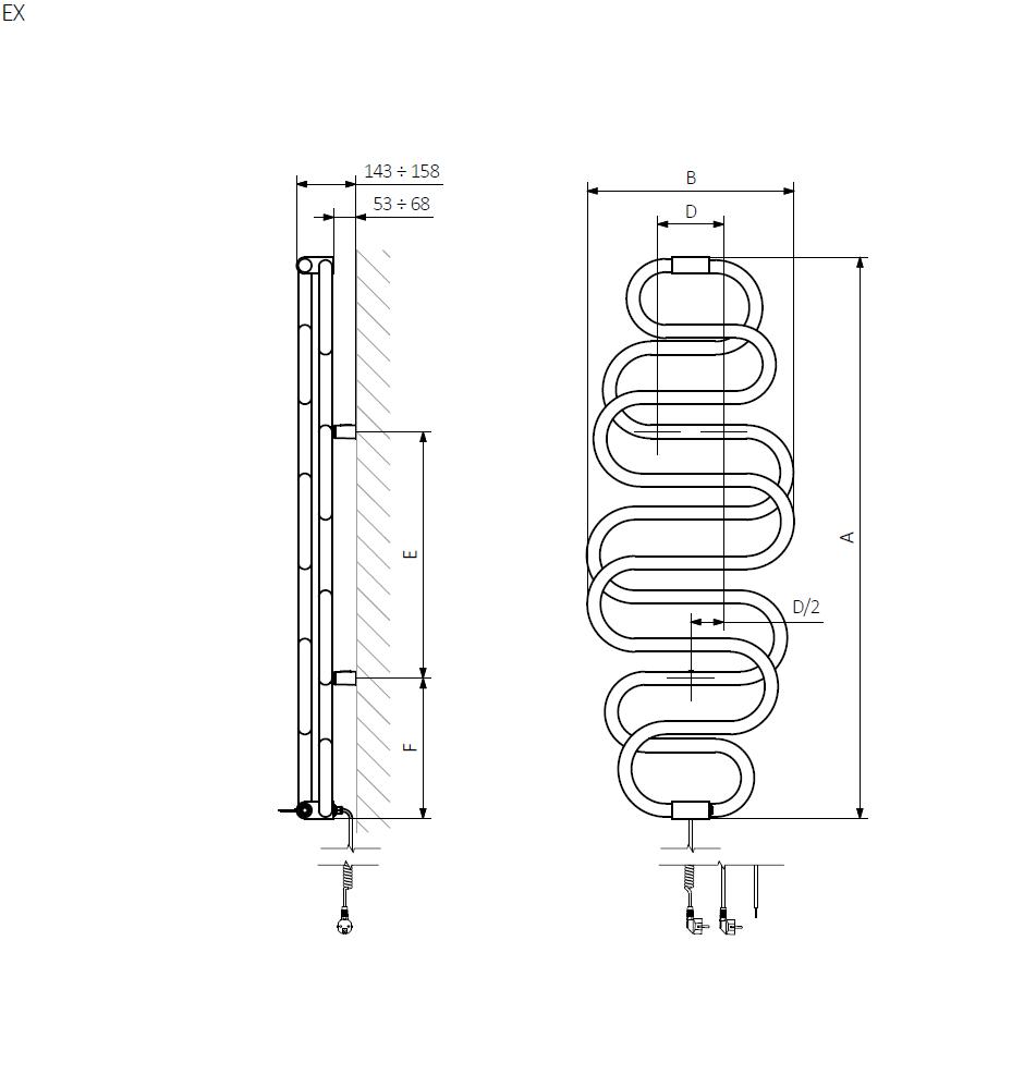 A – wysokość B – szerokość C1-C5 – rozstaw podłączeń D – rozstaw mocowań w poziomie E – rozstaw mocowań w pionie F – odległość od dolnej osi mocowań do dolnej krawędzi kolektora