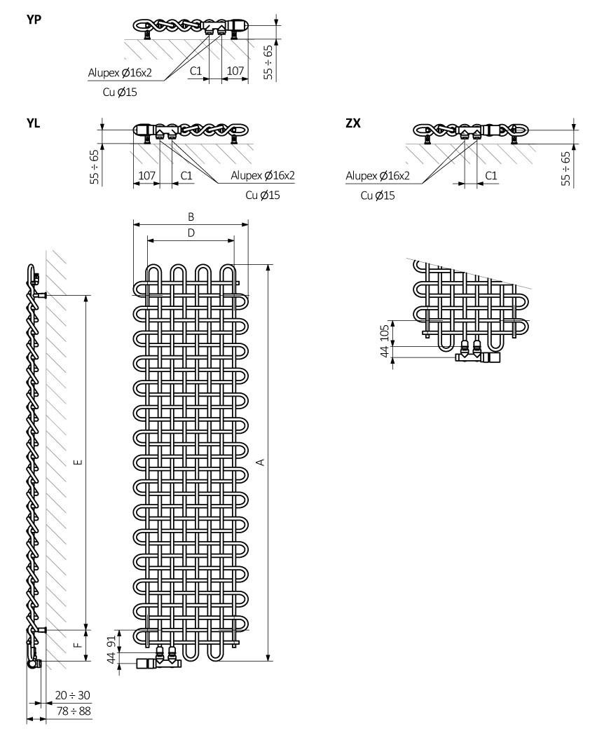 <p>A – wysokość B – szerokość C1-C5 – rozstaw podłączeń D – rozstaw mocowań w poziomie E – rozstaw mocowań w pionie,<br /> F – odległość od osi dolnego mocowania do dolnej krawędzi kolektora</p>