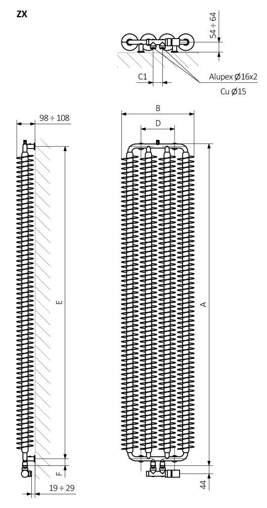 <p>A – wysokość B – szerokość C1-C5 – rozstaw podłączeń D – rozstaw konsol w poziomie E – rozstaw konsol w pionie,<br /> F – odległość od osi dolnej konsoli do dolnej krawędzi kolektora</p>