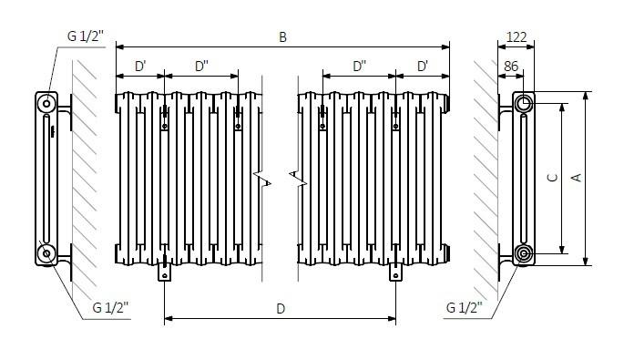 A – wysokość B – szerokość C – rozstaw podłączeń D – rozstaw mocowań w poziomie