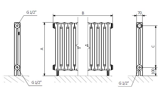 A – wysokość B – szerokość C – rozstaw podłączeń