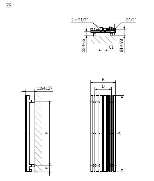 <p>A – wysokość B – szerokość C1-C5 – rozstaw podłączeń D – rozstaw mocowań w poziomie E – rozstaw mocowań w pionie F – odległość od dolnej osi mocowań do dolnej krawędzi kolektora</p>