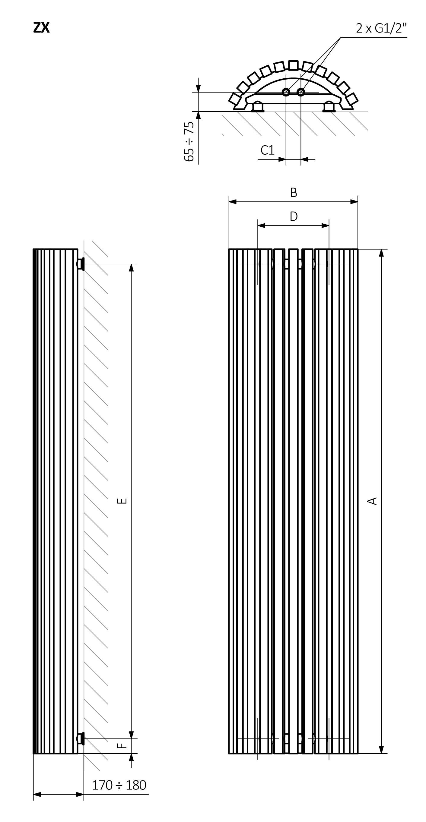 A – wysokość B – szerokość C1-C5 – rozstaw podłączeń D – rozstaw mocowań w poziomie E – rozstaw mocowań w pionie, F – odległość od osi dolnego mocowania do dolnej krawędzi kolektora