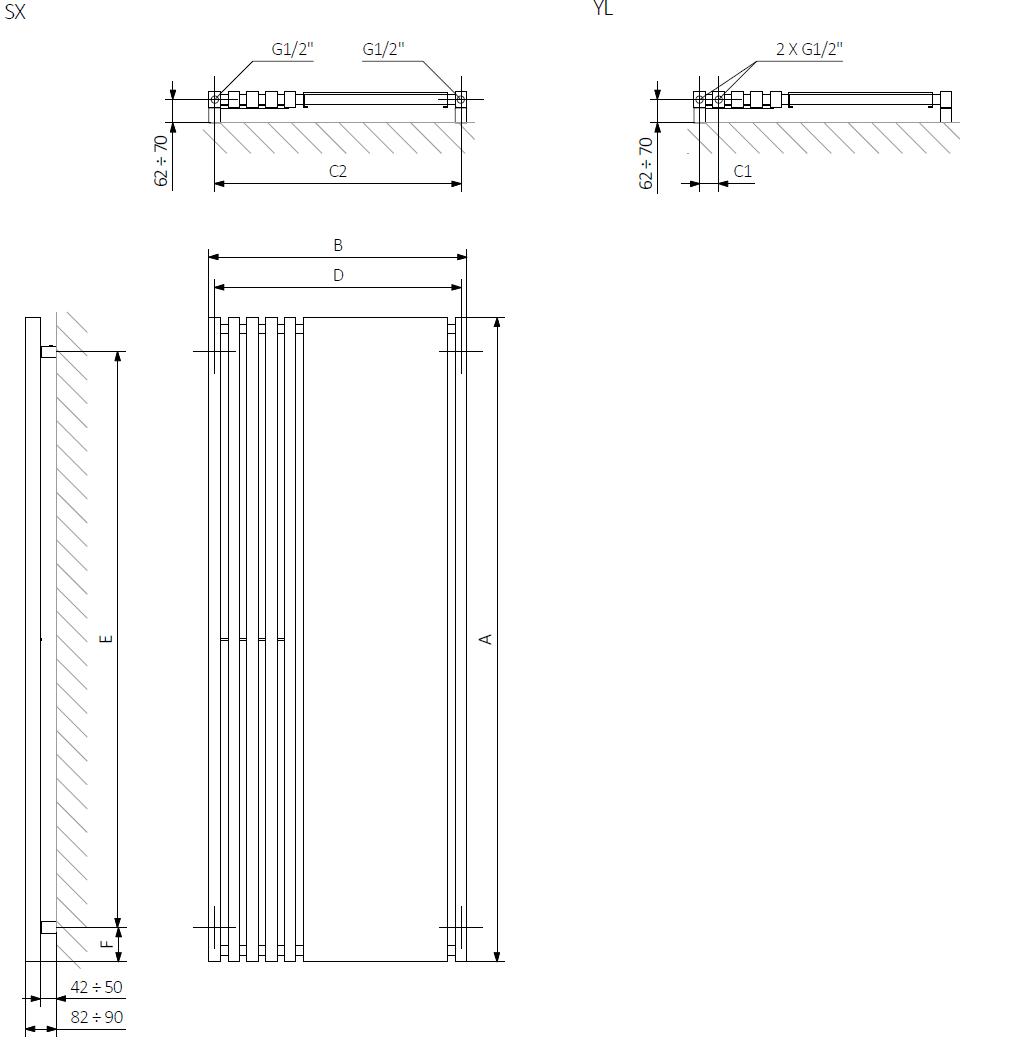 <p>A – wysokość B – szerokość C1-C5 – rozstaw podłączeń D – rozstaw mocowań w poziomie E – rozstaw mocowań w pionie<br /> F – odległość od osi dolnego mocowania do dolnej krawędzi kolektora</p>