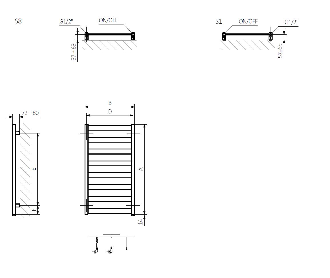 A – wysokość B – szerokość C1-C5 – rozstaw podłączeń D – rozstaw mocowań w poziomie E – rozstaw mocowań w pionie, F – odległość od dolnej osi mocowań do dolnej krawędzi kolektora