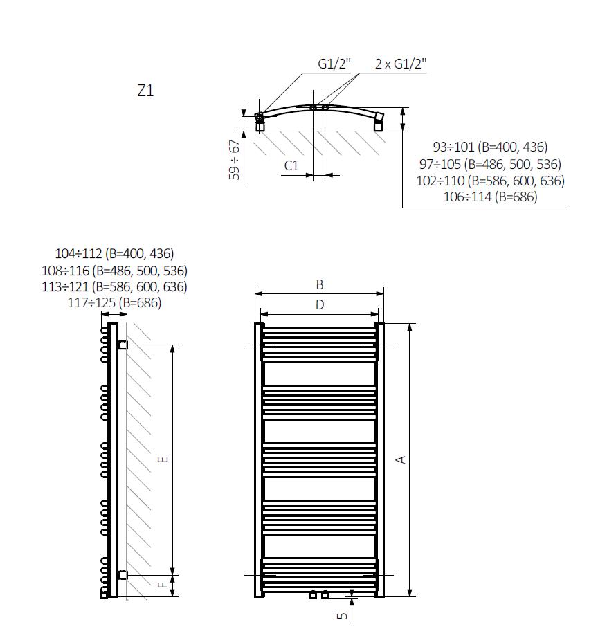 <p>A – wysokość B – szerokość C1-C5 – rozstaw podłączeń D – rozstaw mocowań w poziomie E – rozstaw mocowań w pionie<br /> F – odległość od dolnej osi mocowań do dolnej krawędzi kolektora</p>