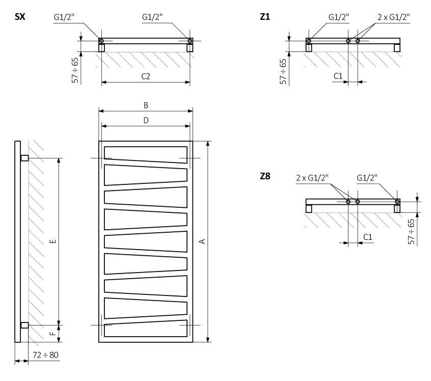 A – wysokość B – szerokość C1-C5 – rozstaw podłączeń D – rozstaw konsol w poziomie E – rozstaw konsol w pionie, F – odległość od osi dolnej konsoli do dolnej krawędzi kolektora