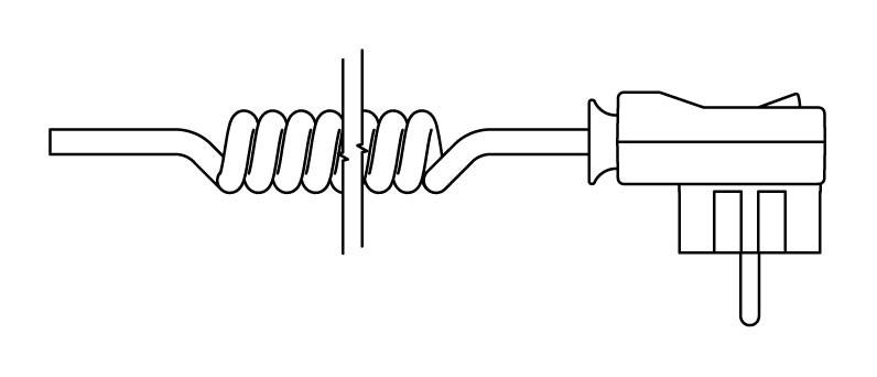 Kabel spiralny z wtyczką i włącznikiem (T)
